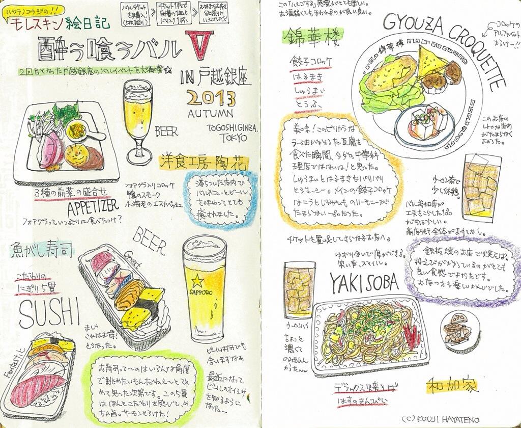 モレスキン絵日記更新!戸越銀座バルイベント参加。お店のハシゴは楽しかった!