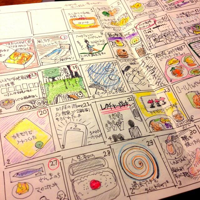 モレスキンのヴォラン(プレーン、ホワイト)で自作手帳。自分でデイリーの枠を描いて、そこにデイリーで絵日記。