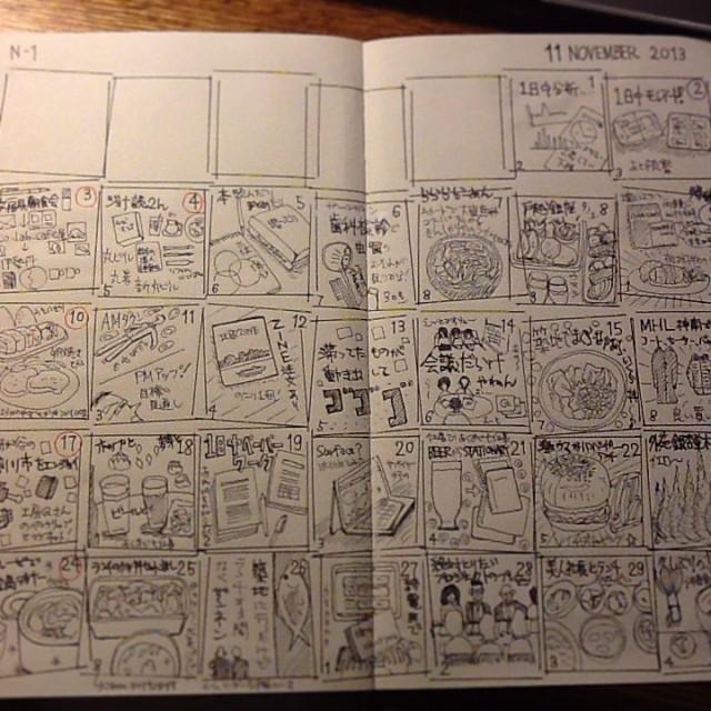 自作手帳(モレスキン・ヴォラン)マンスリー絵日記、11月版。色付け前。