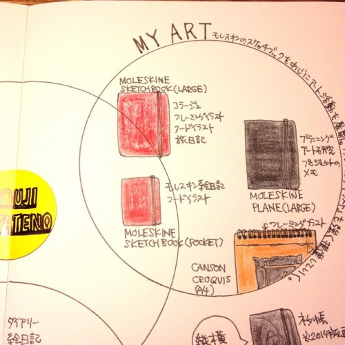 ハヤテノコウジの2015年ノートマップ。アートグループ。モレスキンのスケッチブックのラージ・ポケットを使い分け、アートや絵日記を展開。モレスキンのプレーンにはアート活動の研究やネタを整理していく。キャンソンのクロッキーブックには思いっきり自分の内面からの何かを描く。