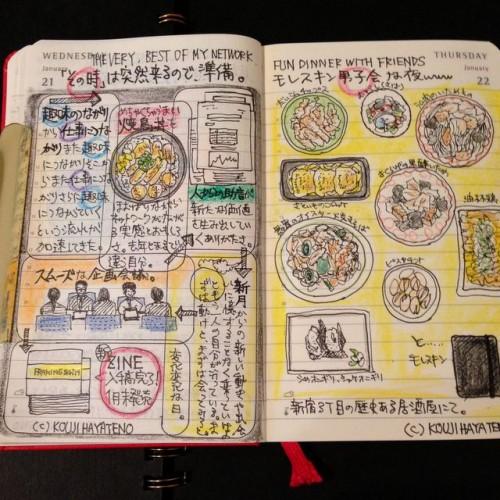 2015年1月21日〜22日のモレスキン絵日記。新宿3丁目にはいろいろと素敵渋い居酒屋やカフェバーがあることを知る。まだまだ楽しみ。