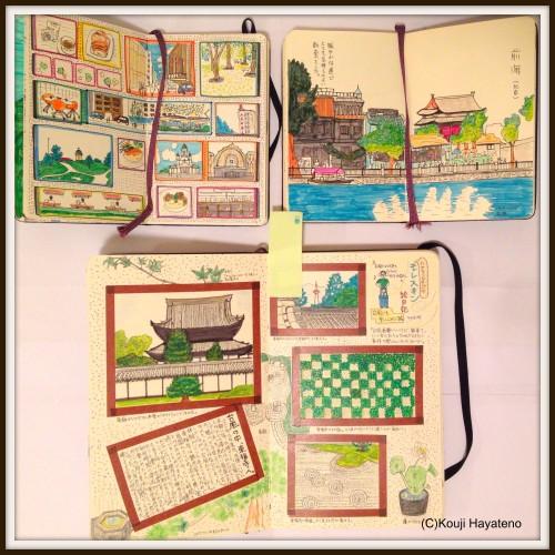 モレスキンアトリエ(有楽町ロフト)での展示イメージその1。2010年の旅行記モレスキン。