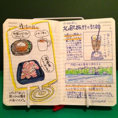 2015年9月4日と9月5日のモレスキン絵日記。