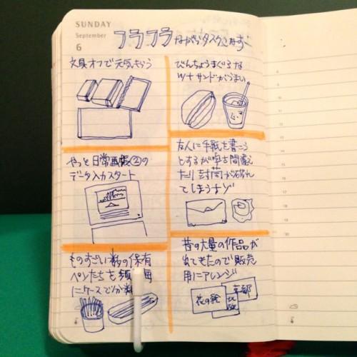 2015年9月6日のモレスキン絵日記。
