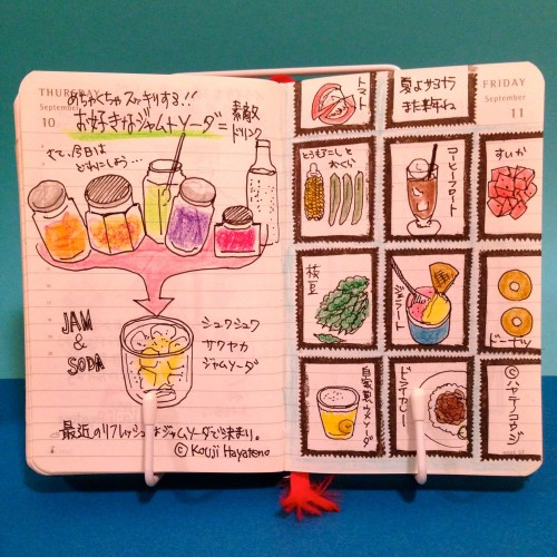 2015年9月10日と11日のモレスキン絵日記。