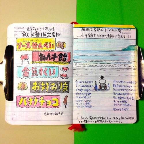 2015年9月21日のモレスキン絵日記。