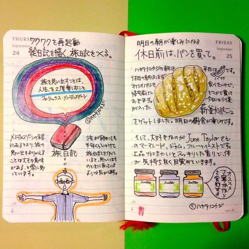 2015年9月24日と25日のモレスキン絵日記。
