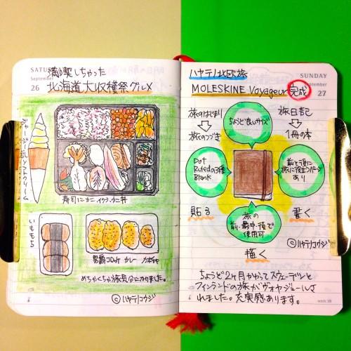 2015年9月26日と27日のモレスキン絵日記。