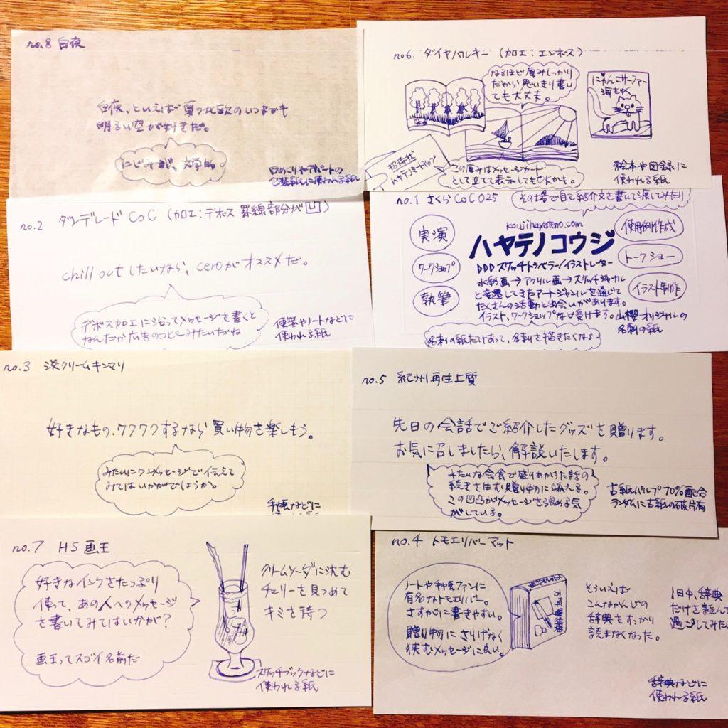 8種類の伝書紙